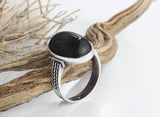 Sterling Silver Men's Ring with Black Onyx Natural Gemstone - J  F  M