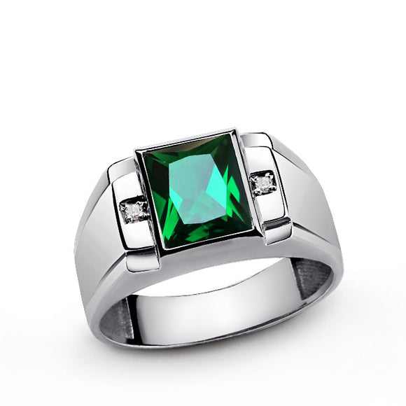 Emerald Men's Ring in Sterling Silver with Genuine Diamonds - J  F  M