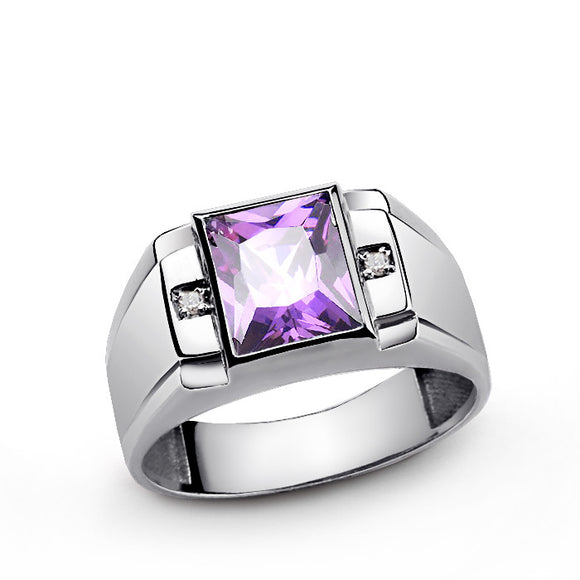 Men's Diamond Ring with Purple Amethyst in 925 Sterling Silver - J  F  M