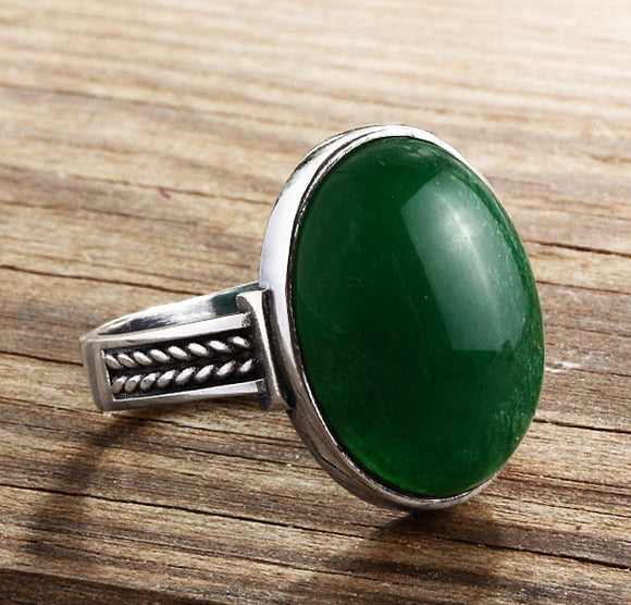 Men's Sterling Silver Ring with Green Jade Natural Gemstone - J  F  M