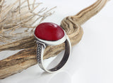 Men's Red Stone Ring 925 Sterling Silver with Natural Agate - J  F  M