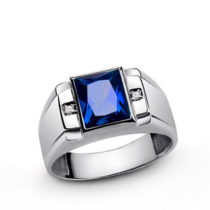 Men's Diamond Ring in Solid 925 Sterling Silver with Blue Sapphire - J  F  M