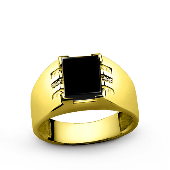 Mens Ring 14k Fine Solid Gold with Black Onyx and 4 DIAMOND Accents in All Sizes