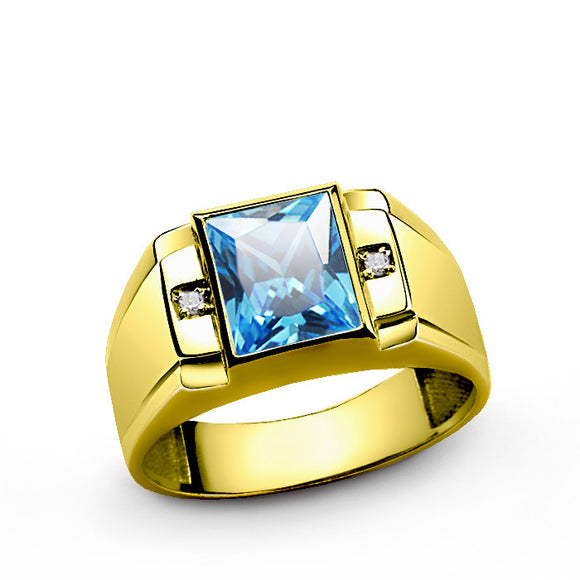 10k Yellow Gold Men's Ring with Blue Topaz and Genuine Diamonds - J  F  M