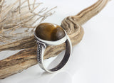 Men's Ring Sterling Silver 925 with Brown Tiger's Eye Natural Gemstone - J  F  M