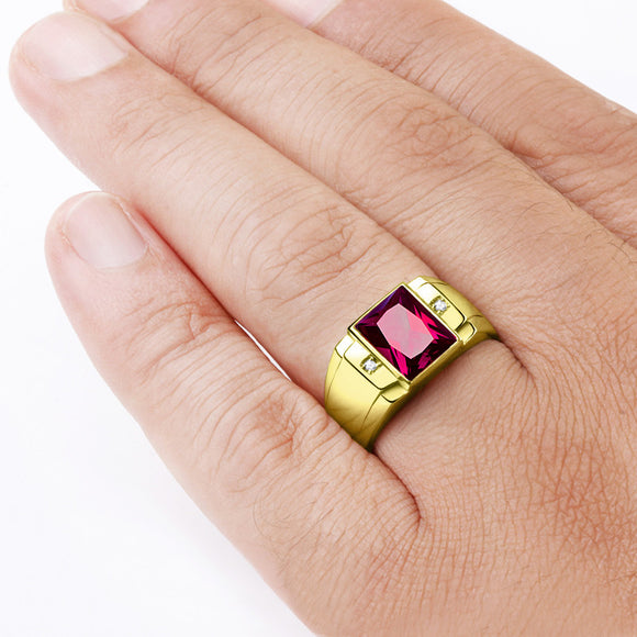 Statement Men's Ring 10k Yellow Gold with Ruby Gemstone and Genuine Diamonds - J  F  M