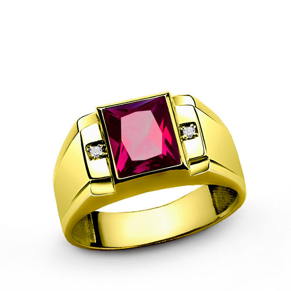 Men's Ring with Ruby Gemstone and Diamonds in 14k Yellow Gold - J  F  M