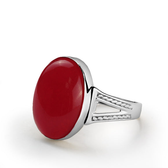 Men's Sterling Silver Ring with Red Agate Stone, Statement Ring with Stone for Men - J  F  M