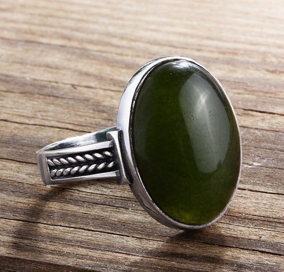 Green Agate Men's Ring Sterling Silver with Natural Gemstone - J  F  M