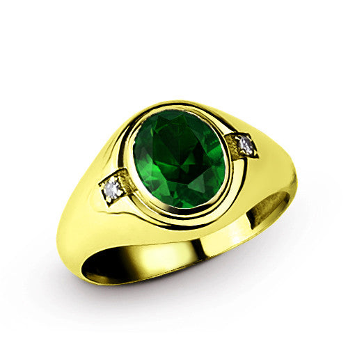 18k Yellow Gold Men's Ring with Green Emerald Gemstone and Diamonds - J  F  M