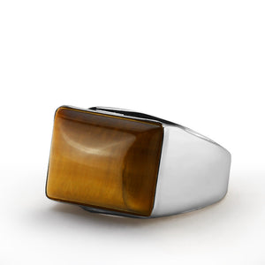 Men's Ring in 925 Sterling Silver with Tiger's eye Natural Stone Ring - J  F  M
