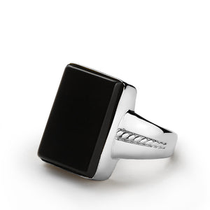Men's Gemstone Ring in 925 Sterling Silver with Natural Black Onyx - J  F  M
