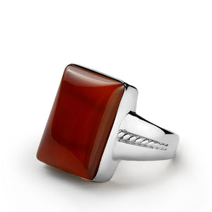Men's Ring Sterling Silver with Natural Red Agate Gemstone - J  F  M