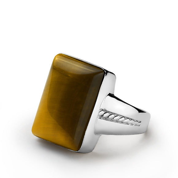 Sterling Silver Men's Ring with Brown Tiger's Eye Natural Gemstone - J  F  M