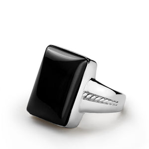Men's Ring 925 Sterling Silver and Black Onyx Natural Gemstone - J  F  M