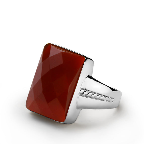 Men's Silver Ring with Red Agate, Sterling Silver Statement Ring for Men - J  F  M