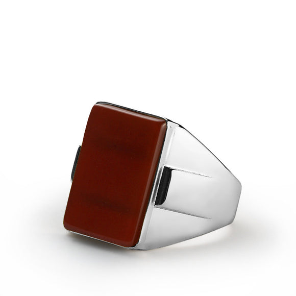 Men's Ring 925 Silver with Red Agate Stone, Statement Ring for Men - J  F  M