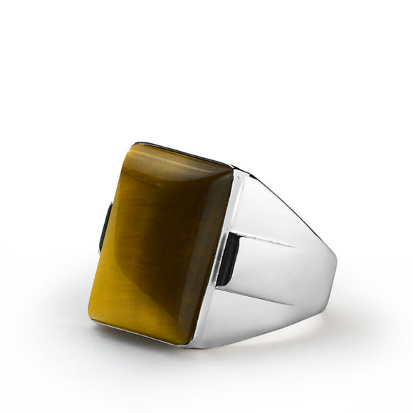 Tiger's Eye Men's Ring in 925 Sterling Silver, Brown Stone Statement Ring for Men - J  F  M