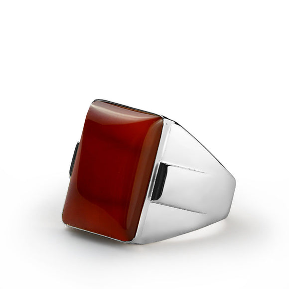 925 Sterling Silver Men's Ring with Red Agate, Natural Stone Ring for Men - J  F  M