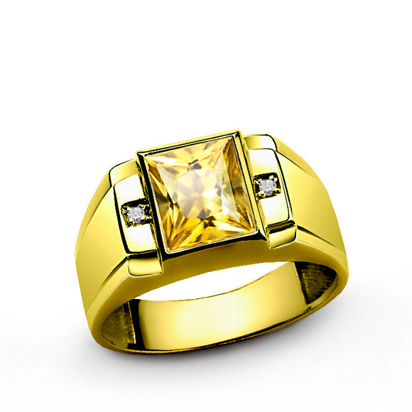 Men's Ring in 14k Yellow Gold with Citrine Gemstone and Genuine Diamonds - J  F  M