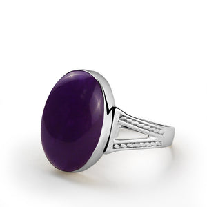 Men's Ametyst Ring in Sterling Silver with Natural Purple Gemstone - J  F  M