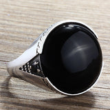 Men's Ring Sterling Silver 925 with Natural Black Onyx Gemstone - J  F  M