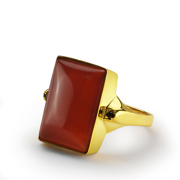 Men's Ring 10k Yellow Gold with Natural Red Agate Stone and Black Onyx Accents - J  F  M
