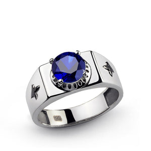 Blue Sapphire Men's Statement Ring in Solid 925 Sterling Silver - J  F  M