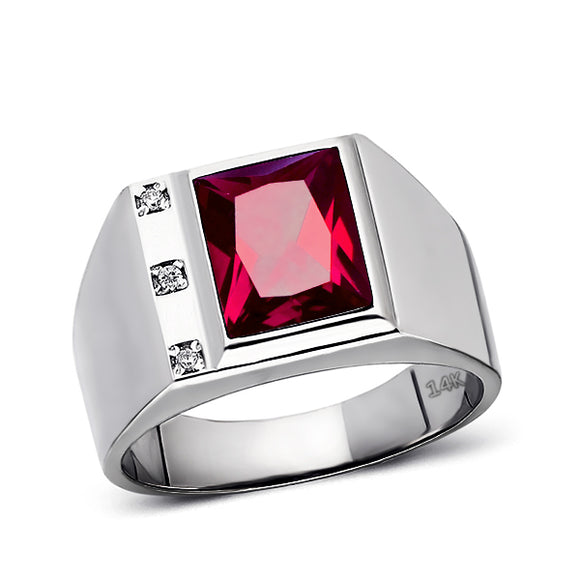 Mens Solid 14K White Gold Red Ruby Ring 0.06ct Natural Diamonds Ring for Men