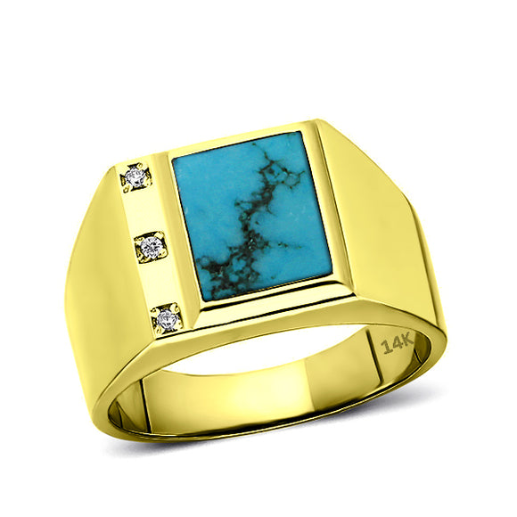 Real Fine 14K Yellow Gold Turquoise Mens Ring with 0.06ct Natural 3 Diamonds