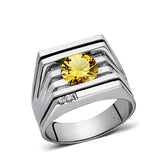 Mens Ring Yellow CITRINE GEMSTONE and 2 DIAMONDS in Solid 925 Sterling Silver