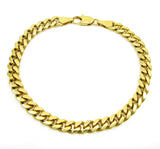 6mm Mens 18k Gold Plated Sterling Silver Heavy Cuban Chain Link Bracelet 9 inch