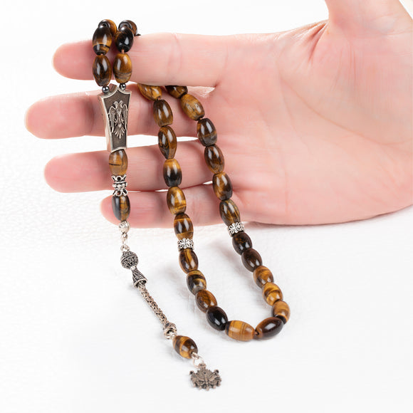 Turkish Islamic Rosary 8mm Tiger's eye 925 Silver Prayer Beads Muslim Gift for Him