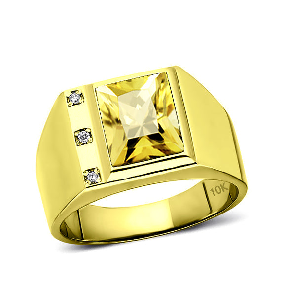 Solid 10K Gold Yellow Citrine Mens Ring 3 Natural Diamonds on Fine Ring for Man