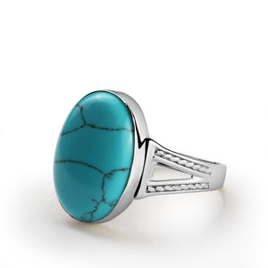 Men's Statement Ring in 925 Sterling Silver with Natural Blue Turquoise - J  F  M