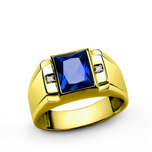 Men's Ring Sapphire and Genuine Diamonds in 10K Yellow Gold, Statement Ring - J  F  M