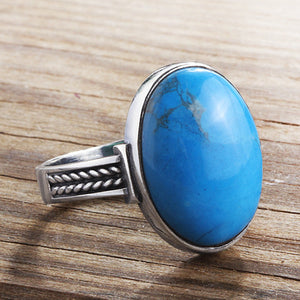 Sterling Silver Men's Ring with Blue Turquoise Natural Gemstone - J  F  M