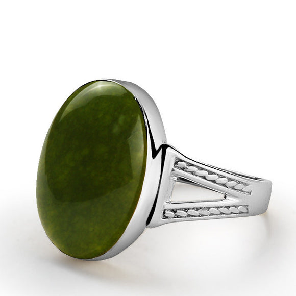 Natural Green Agate Gemstone Men's Ring in Sterling Silver - J  F  M