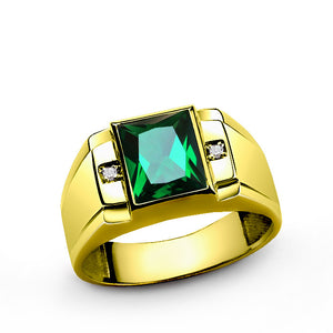 10k Yellow Gold Men's Ring with Green Emerald and Genuine Diamonds - J  F  M