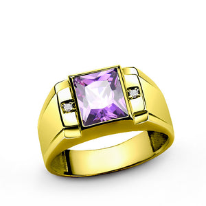 Men's Ring in 14 K Solid Yellow Gold with Amethyst and Diamonds - J  F  M