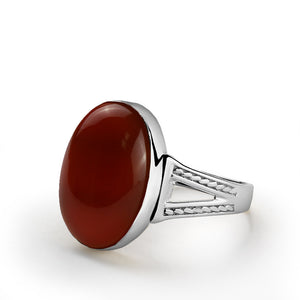 Men's Agate Ring in 925 Sterling Silver, Natural Red Agate Stone Ring for Men - J  F  M