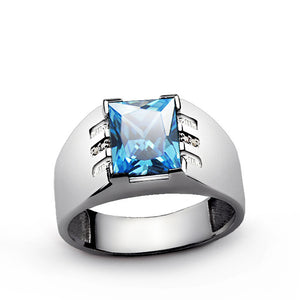 Men's Gemstone Ring with Natural Diamonds and Blue Topaz in 925 Sterling Silver - J  F  M