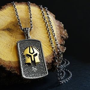 Gladiator Mask Chain Necklace for Men 925 Sterling Silver Warrior Shield Tag Pendant