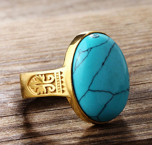 Men's Ring Blue Turquoise in 10k Yellow Gold, Men's Natural Stone Ring - J  F  M