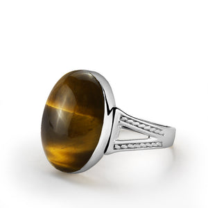 Men's Sterling Silver Ring with Brown Tiger's Eye Natural Gemstone - J  F  M