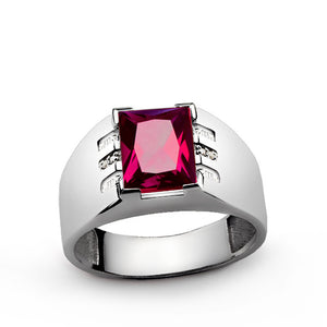 Men's Ring with Red Ruby Gemstone and Natural Diamonds in Sterling Silver - J  F  M