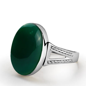 Natural Green Agate Men's Ring in Sterling Silver - J  F  M