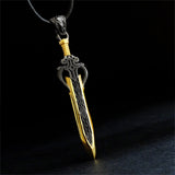 Warrior Sword Necklace for Men Sterling Silver Men's Statement Necklace