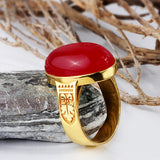 10k Yellow Solid Gold Men's Ring with Red Agate Natural Stone - J  F  M