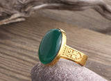 Men's Ring Natural Agate in 14k Yellow Gold, Artdeco Statement Ring for Men - J  F  M